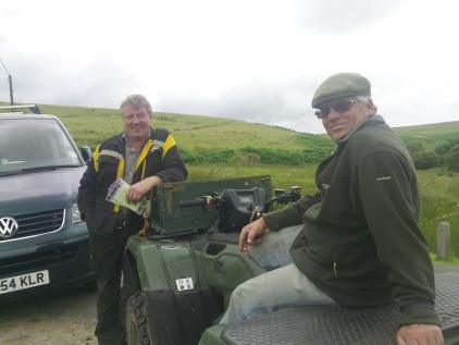 Rex Milton with Rob Taylor at Landacre Bridge with of course, the wonderful Pony Map